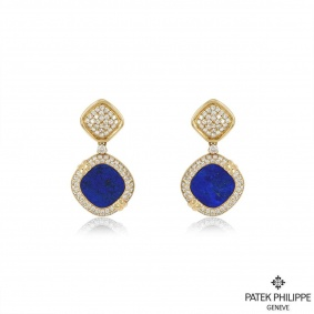 Patek Philippe 18k Yellow Gold Rare Lapis Lazuil & Diamond Drop Earrings